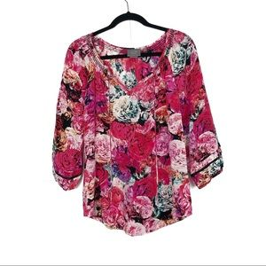 Vanessa Virginia Anthro Red Rose Print Silk Top XS